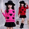 Novas roupas de crianças meninas define 2 peça set vestido da menina das crianças roupas de inverno quente 4-14 anos