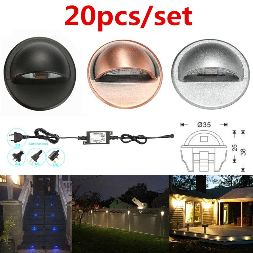 20PCS/SET 35mm 12V IP65 Low Voltage Half Moon LED Deck Rail Step Stair Fence Lights Wall Corner Lamp Outdoor Landscape Lighting