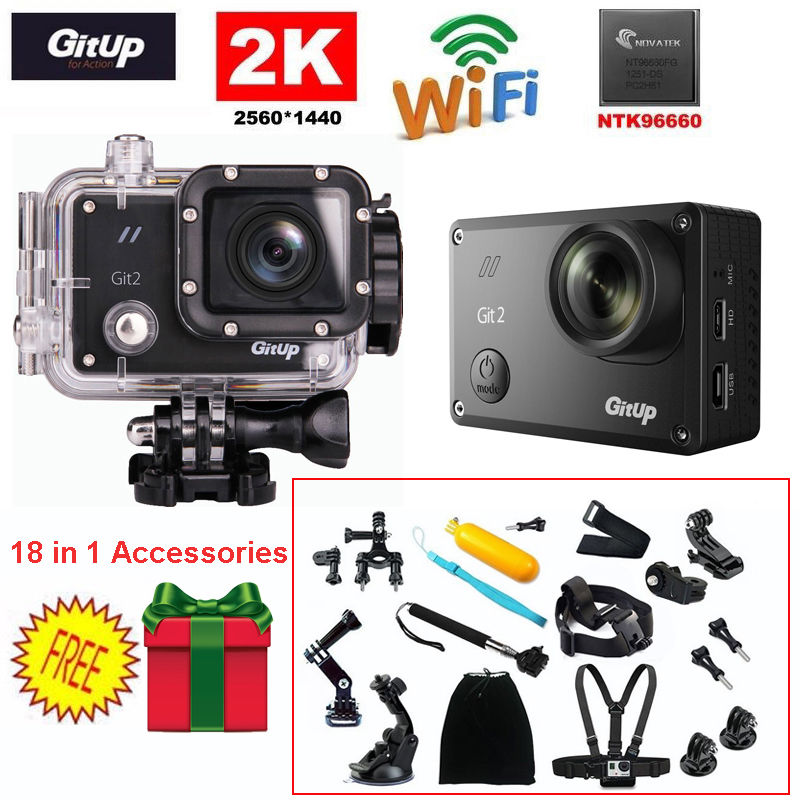 Gitup Git2 Action Cam 16MP HD 2K 30fps 1080P Full HD WiFi DV Sports Action Helemet Camera+18 in 1 Accessories