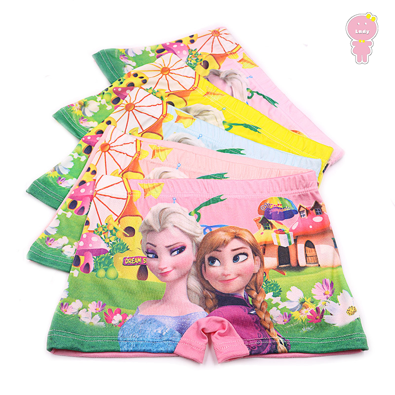 5 Pcs/lot Silk Touch Girls Boxer Kids Panties Children Underpants Baby Briefs Toddler Underwear Floral Anna Elsa 2 To 8 Yrs