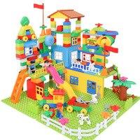 DIY Colorful City House Roof Large Particle Building Blocks Castle Educational Toys Children Compatible Assembly Creative 113PCS