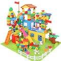 DIY красочный городской дом на крыше большие частицы строительные блоки замок развивающие игрушки Детская совместимая сборка креативный 113 ...
