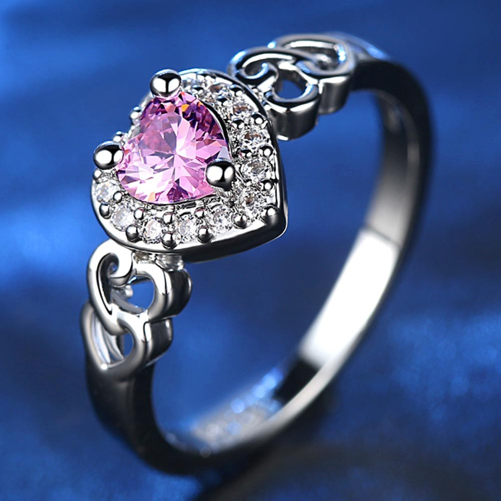 Heart Pink Crystal Ring 2