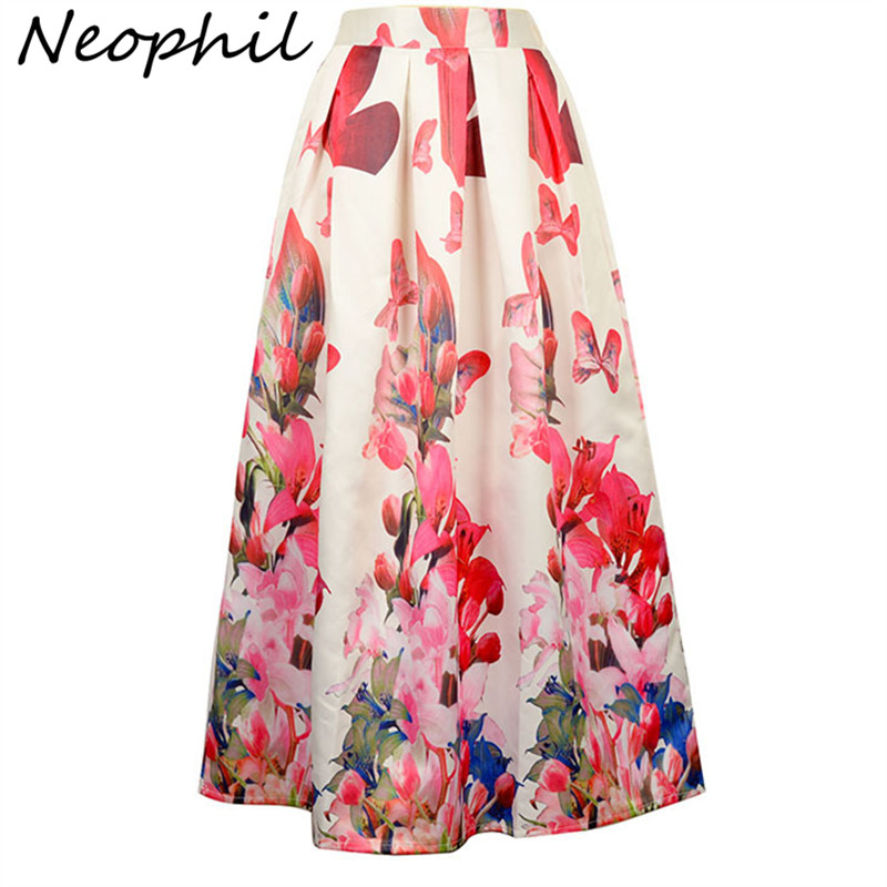 Neophil Ladies Maxi Long Skirts High Waist Black White Lily Flower Floral Printed Pleated Floor Length 100cm Jupe Longue MS07069