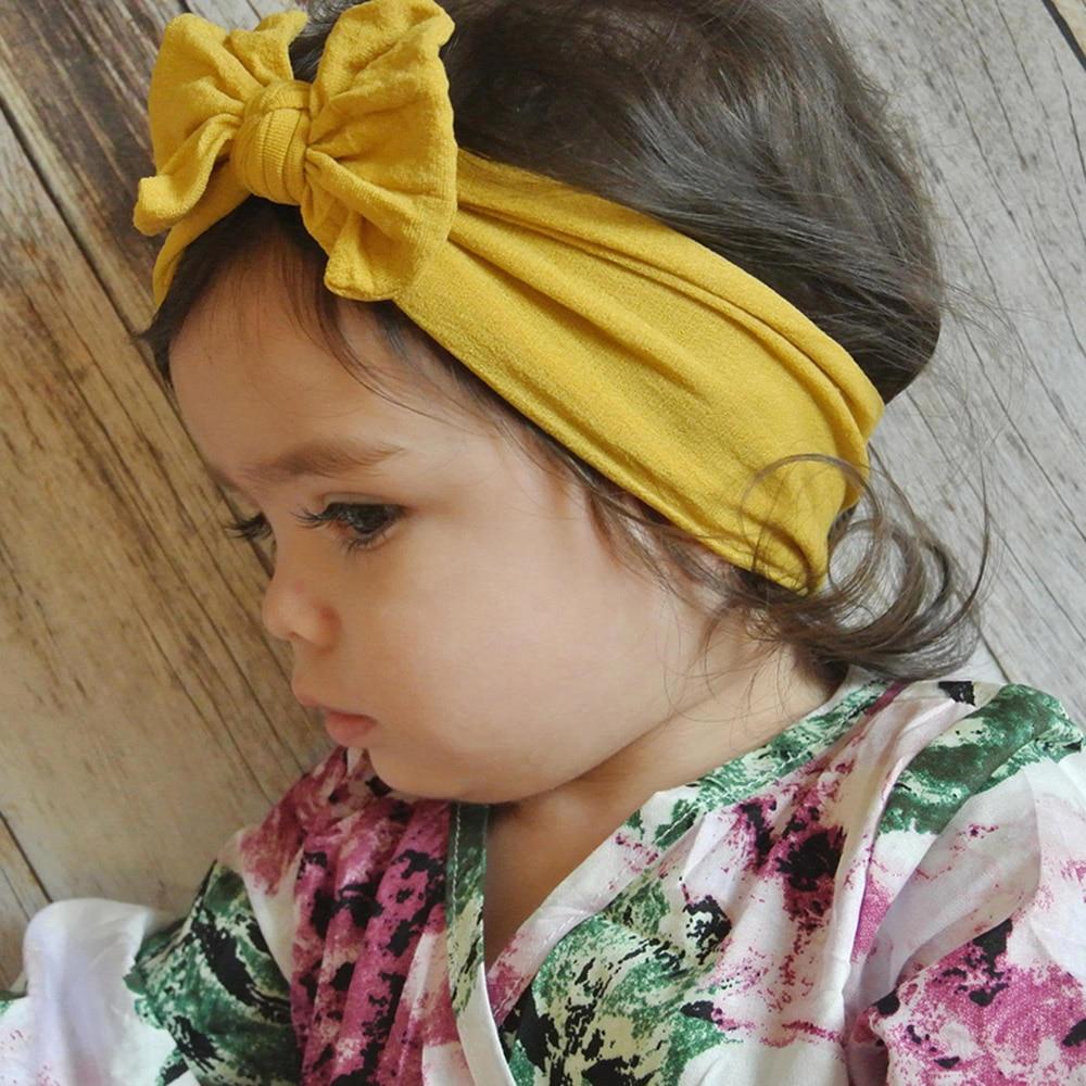 Flower Big Floral Kids Baby Bow Soft Hairband Nylon Headband Elastic Headwraps