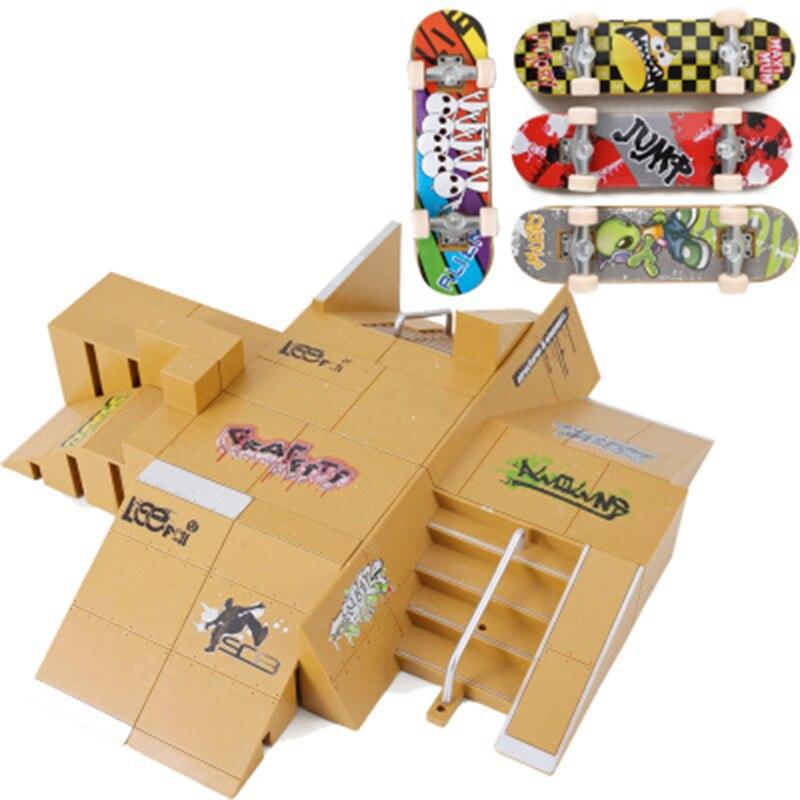Professionnel Doigt Planche À Roulettes Fixées avec 4 Planches À Roulettes Rampes Scène Grand Finger Skate Board Adultes Nouveauté Jouets Mini Pont