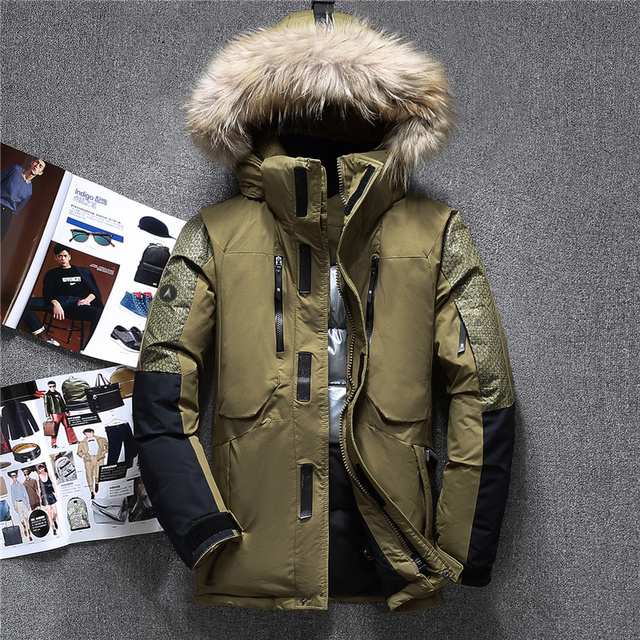Best Offers Winter Genuine Fur Hooded Duck Down Jackets Men Warm High Quality Parkas Coats Male Casual Winter Outerwer Down Parkas