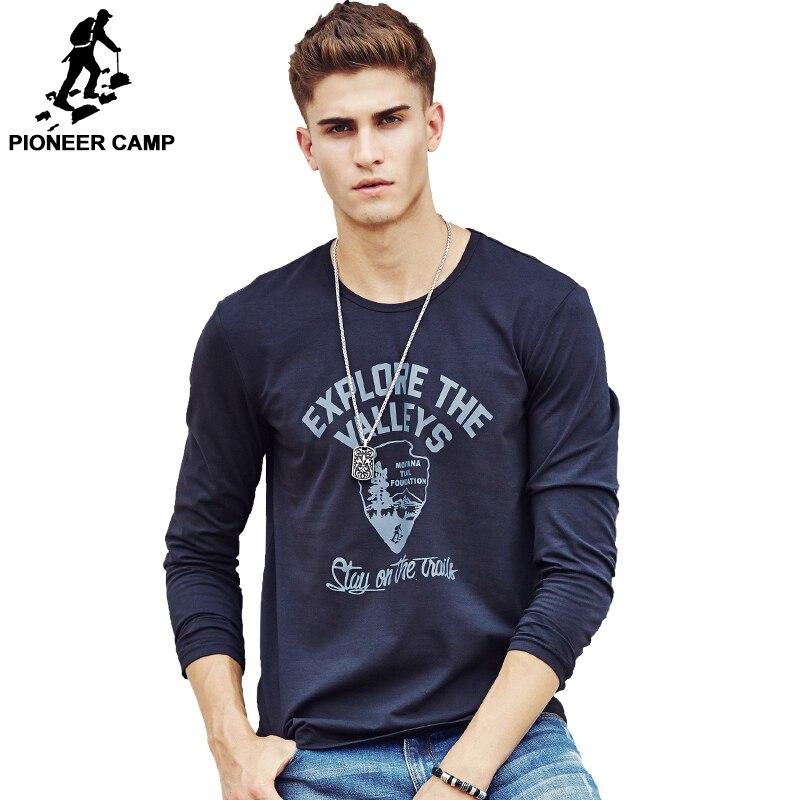 Pioneer Camp hommes Chaud t-shirt de mode marque vêtements Hommes de Long manches T Shirt Coton Élastique T-Shirt Occasionnel Mâle 4XL plus la taille
