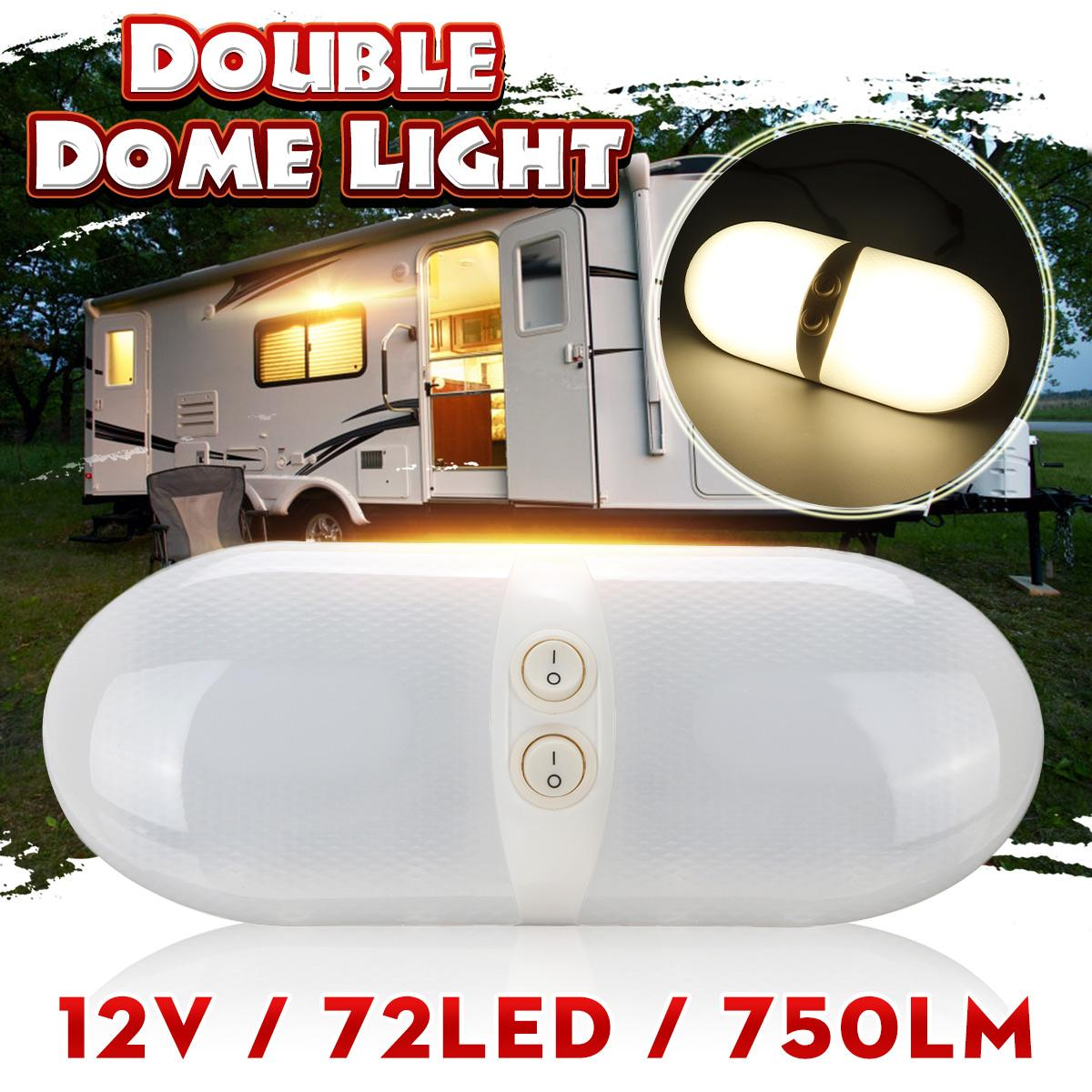 12V 72LED RV Ceiling Dome Light With Switch Double Dome Interior Replacement Lighting For RV Trailer Camper Motorhome Boat