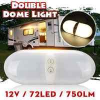 12V 72LED RV Techo Luz de techo con interruptor doble Domo Interior de repuesto iluminación para RV remolque Camper Motorhome barco