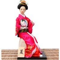 24 cm Unikalne ręcznie wykonane Geisha Figurki akcesoria do dekoracji domu feng shui rzemiosło japoński geisha lalki z fanami