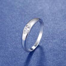 Fashion silver plated oval AAA+ Zircon men finger ring unisex 925 silver CZ crystal women wedding engagement bridal ring jewelry