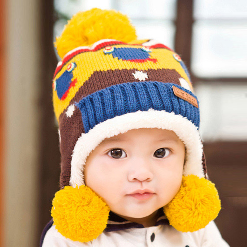 Cute 6 Month-7 age Baby Knitting Winter Hat For Girls Boys Poom Hat Family Outfits Baby Children Cotton Thick Hats Free Shipping