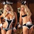 Au Reve Erotic Lace Bunny Cosplay Uniform for Party Girls Sexy Black rabbit Lingerie Set Temptation Full set Halter Bodysuit