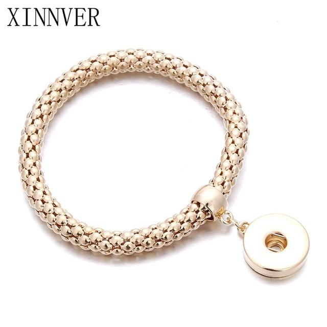 New Gold Silver Snap Bracelet For Women Fit DIY 18mm Snap Jewelry Elastic Snap Buttons Bracelet Jewelry ZE098