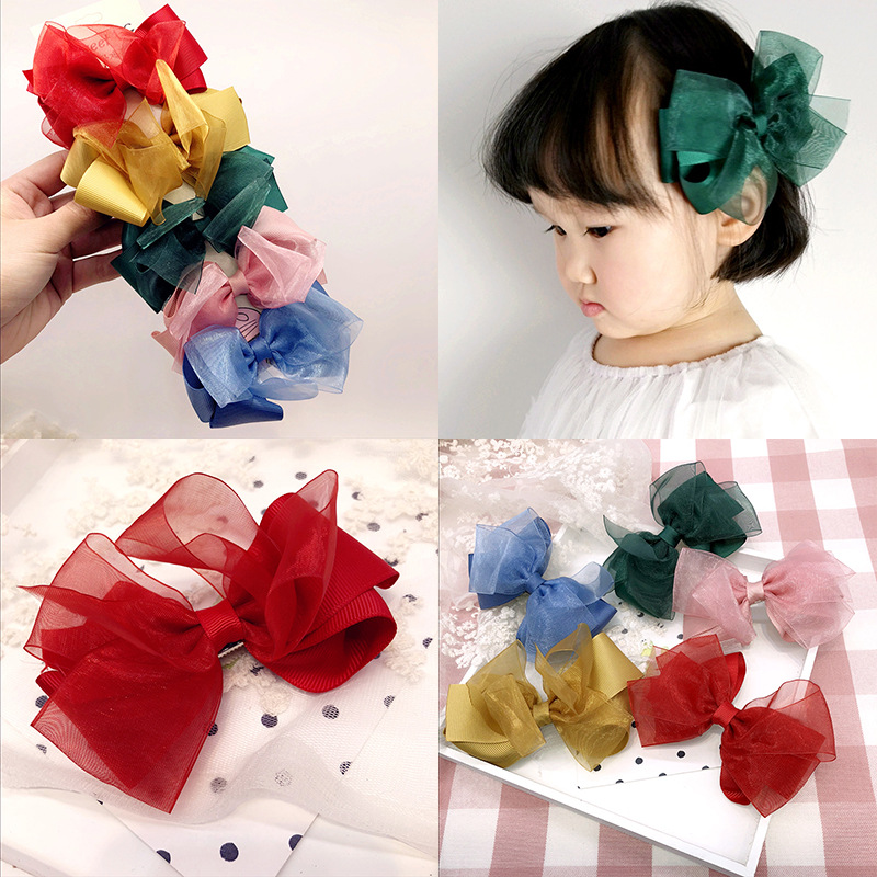 Colorful Ribbon Big Hair Bows Hair Accessories For Girls Korea Princess Hair Clips Flower Crown Hair Ornaments Rim Hairpin