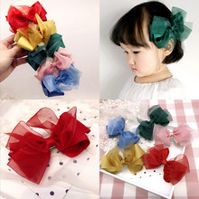 Colorful Ribbon Big Hair Bows Accessories For Girls Korea Princess Clips Flower Crown Ornaments Rim Hairpin