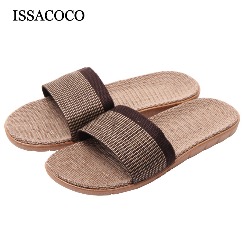 ISSACOCO Men's Plaid Canvas Upper Soles Non-slip Breathable Linen Slippers Men Flax Slides Beach Home Indoor Slippers for Men coolsa women s summer striped linen slippers breathable indoor non slip flax slippers women s slippers beach flip flops slides