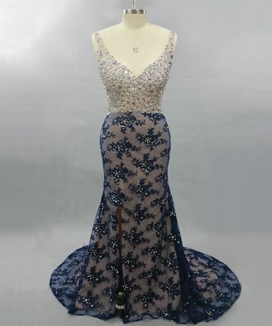 Lace Mermaid Evening Dress 2017 Elegant Y V Neck Beaded Wedding Guest Dresses Long Formal