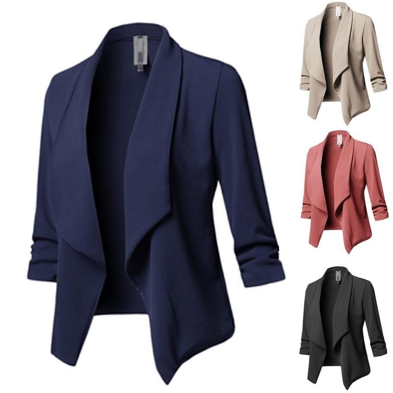 Calofe Plus Size Blazer Women Solid Color Suit Long Sleeved Lapel Casual Small Suit Slim Yards Ladies Blazers Work Wear Jacket