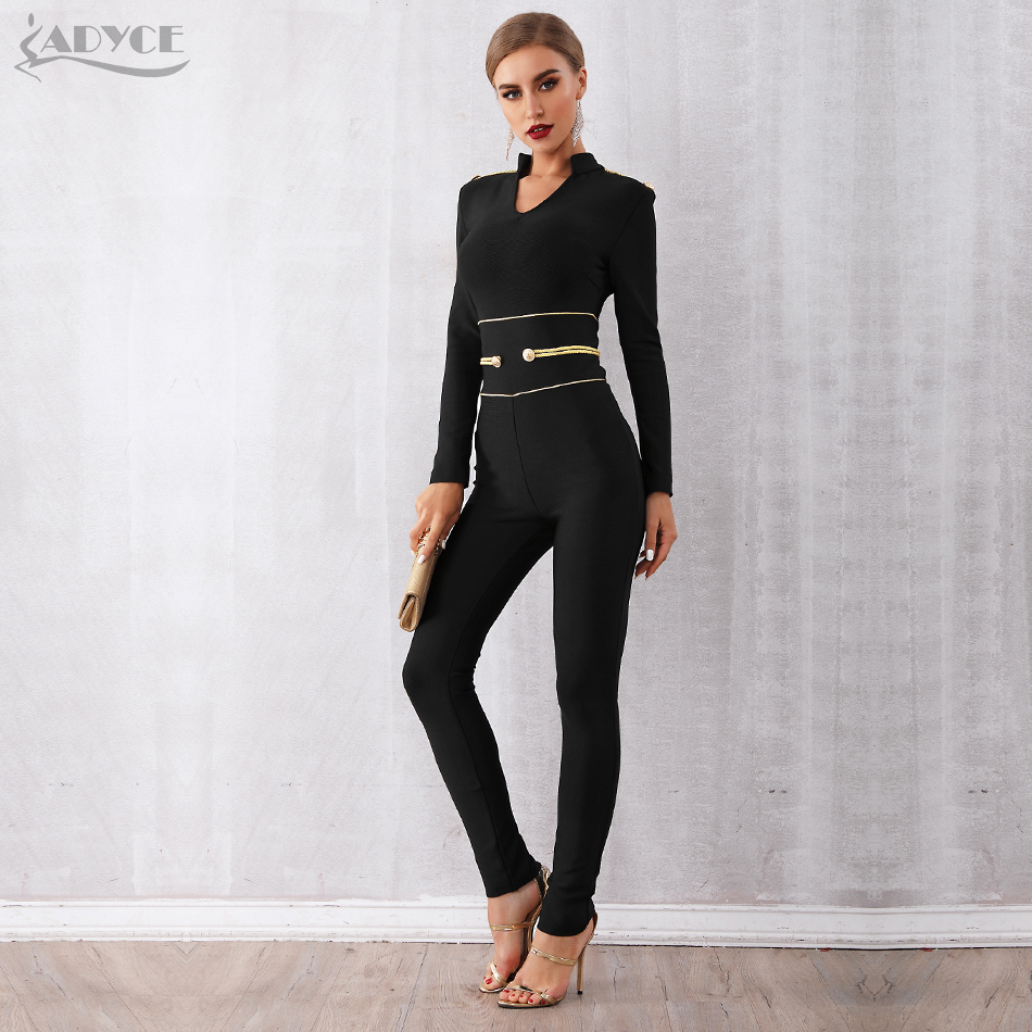 ADYCE New Spring Runway Bandage   Jumpsuit   for Women 2019 Rompers Elegant V Neck Long Sleeve Black Club   Jumpsuit   Rompers Vestidos