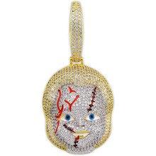 TOPGRILLZ collar con colgante de circonia cúbica con parte trasera lisa, joyería de estilo Hip Hop, Micro pavé
