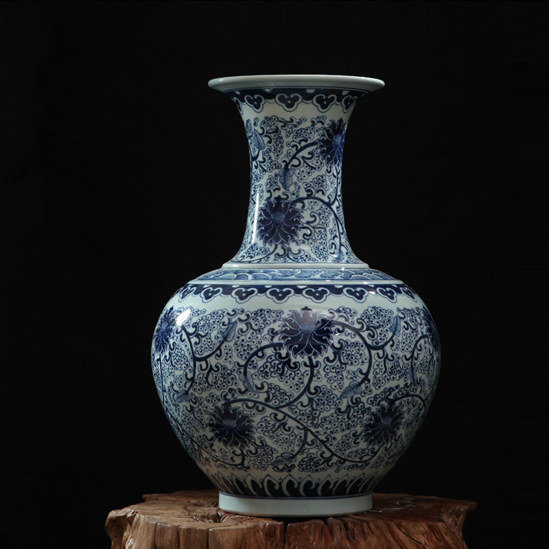 iMall & Traditional Chinese Antique Blue and White Porcelain Flower Vases Home Office Decor Art Collection Big Ceramic Vase