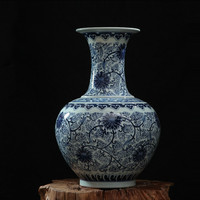 Traditional Chinese Antique Blue and White Porcelain Flower Vases Home Office Decor Art Collection Big Ceramic Vase