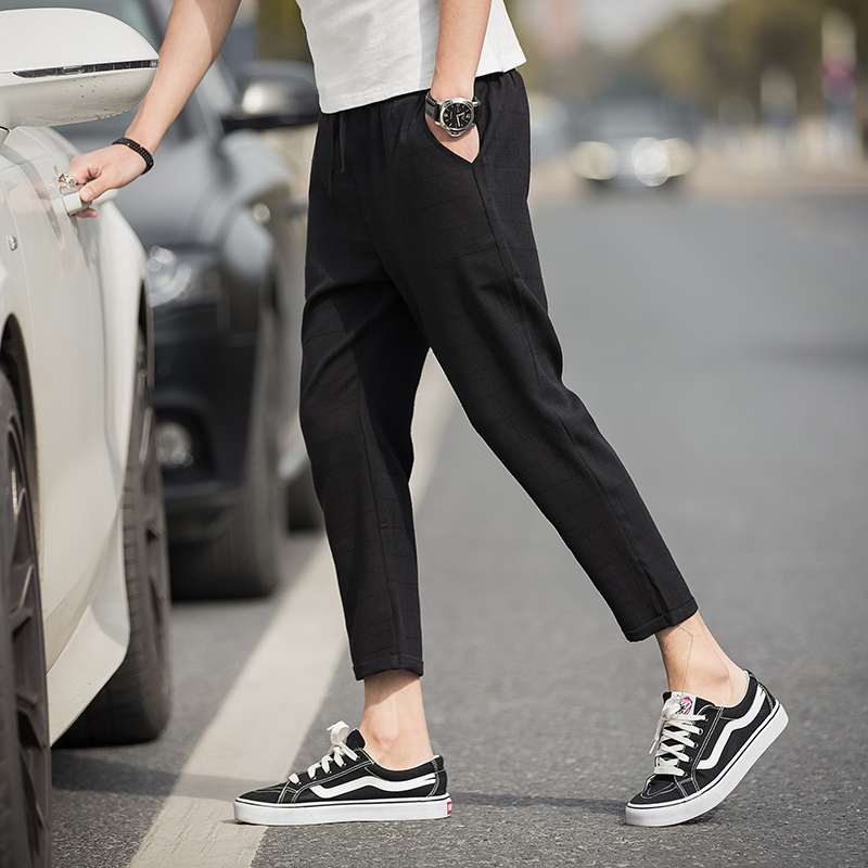 Ankle-Length Linen Plaid Pants 1