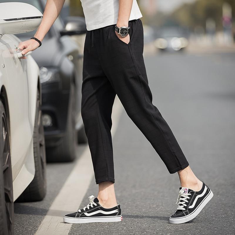 Ankle-Length Linen Plaid Pants 1