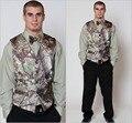 Realtree Camo de Los Hombres de Camuflaje Chaleco con corbata de Lazo Novio Tuxedos Padrinos de boda Por Encargo Prom Party Viste