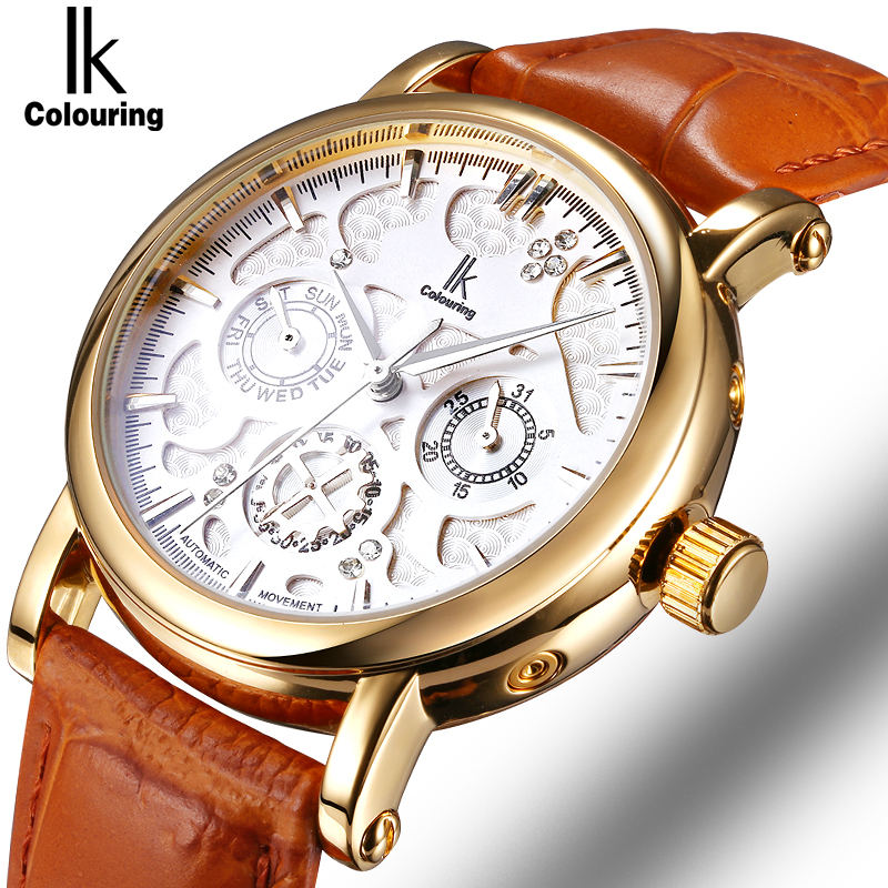 IK Colouring Automatic Self Wind Watch Nail Scale Multifunction Sub Dial Week Date Hollow Unique Carved Fashion Business Watch josette