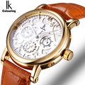 IK Colouring Automatic Self Wind Watch Nail Scale Multifunction Sub Dial Week Date Hollow Unique Carved Fashion Business Watch