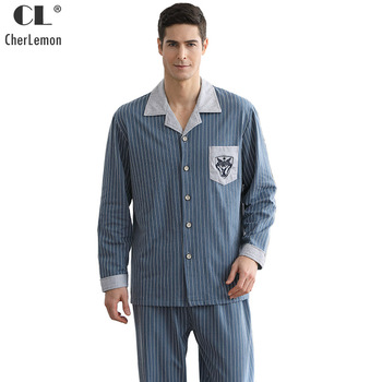 CherLemon Mens 100% Cotton Striped Pajama Set Autumn Long Sleeve Turn Down Collar Sleepwear Male Comfort Pyjamas Nightwear M-4XL