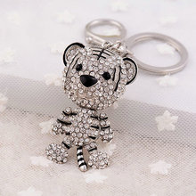 New Animal Design Jewelry Sparkling Rhinestone Cool Tiger Keychain Gold Color Silver Color Keyrings For Women HandBag