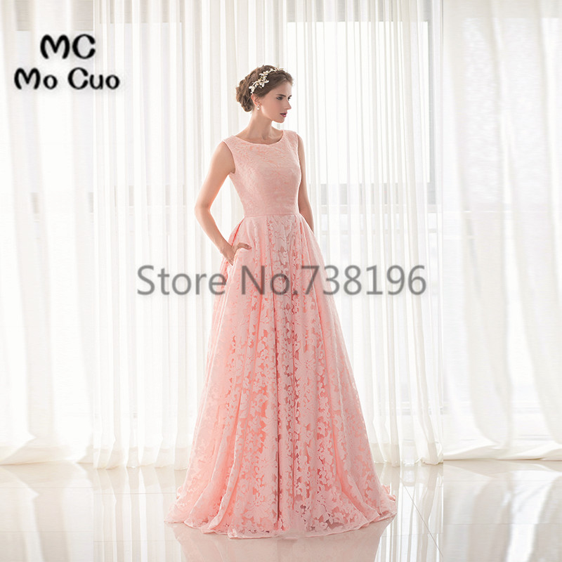 2017 Blush Pink Prom dresses Long with Lace dress for graduation ...