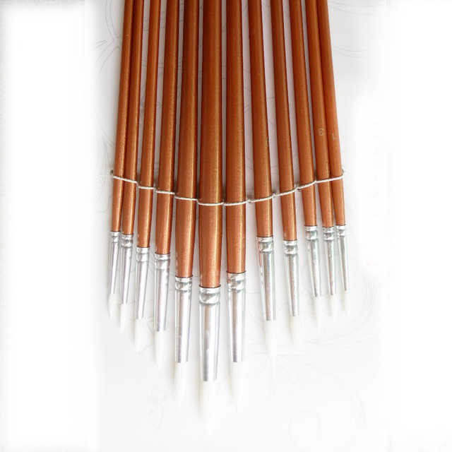 Round Shaped Nylon Hair Paint Brushes 12 pcs Set