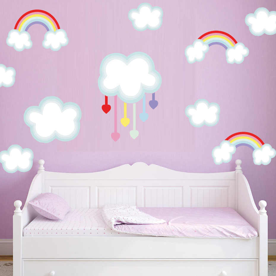 Detail Feedback Questions about Colorful stars Rainbows Clouds Wall ...