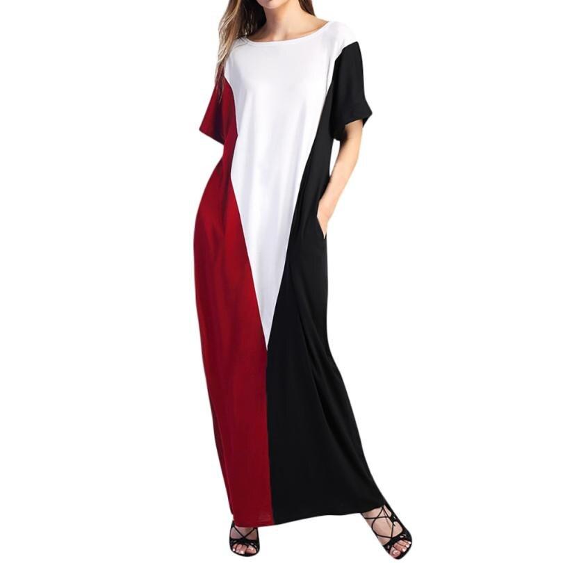 Short Sleeve Pocket Patchwork Long Party Dress Women O Neck Straight Maxi Beach Dress Summer Straight Maxi Sundress Dresses#30