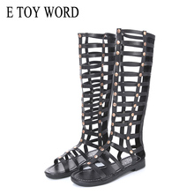 E TOY WORD gladiator flat sandals Cut Out Open The Toe Womens Knee High Sandals Boot 2019 New Fashion Cutout Tall Boots