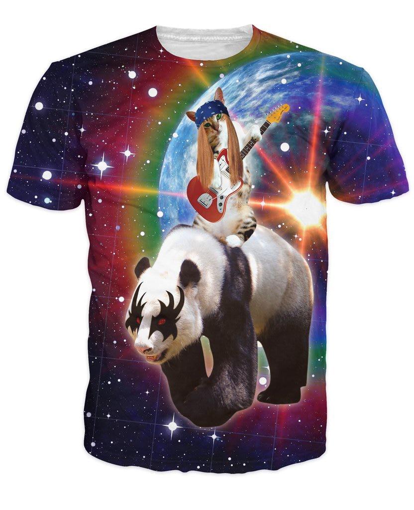 rock n roll panda express t shirt panda riding cat floating in space 3d animal galaxy nebula t. Black Bedroom Furniture Sets. Home Design Ideas