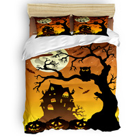 Halloween Castle Dead Tree Owl Moon 4 Piece Bedding Sets St. Valentine's Day California King Comforter Sets Flat Sheet Beautifu