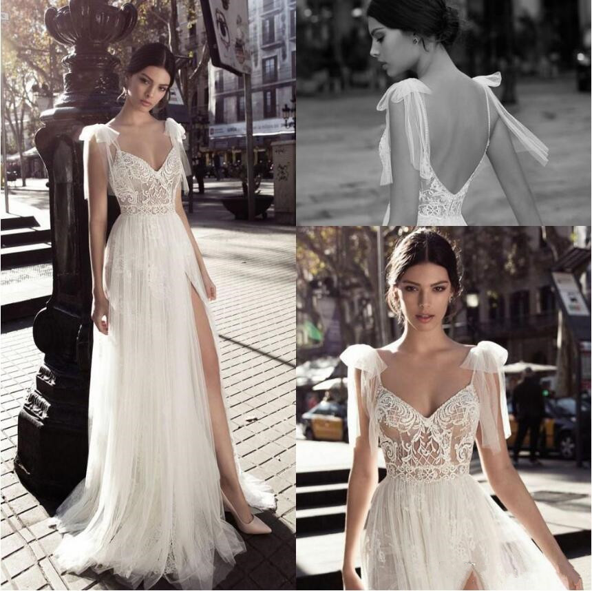 Gali Karten 2020 Wedding Dresses Sexy Spaghetti Straps High Side Split Lace Bridal Gowns Greek Goddess A-Line Wedding Dress