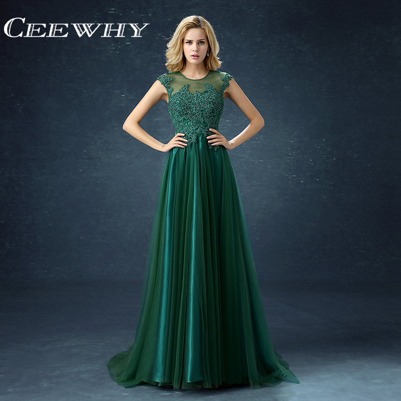 CEEWHY Green Party Evening Dresses Long Dress Vestido de Festa A line Embroidery Evening Gowns Court Train Luxury Formal Dress-in Evening Dresses from Weddings & Events    1