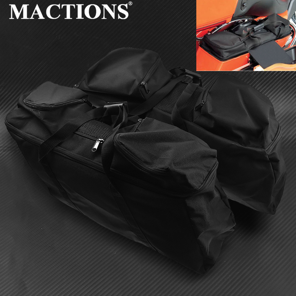Motorcycle Black Saddle Bag Luggage for Harley Touring Electra Glide Street Road Glide 1993-2018  Liners BagMotorcycle Black Saddle Bag Luggage for Harley Touring Electra Glide Street Road Glide 1993-2018  Liners Bag