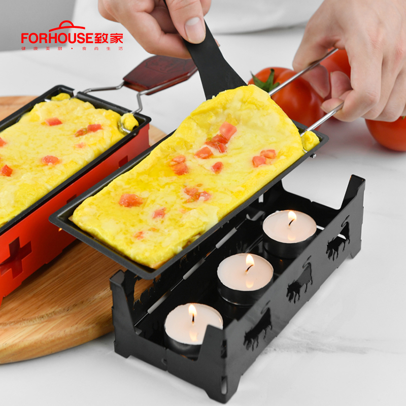 Non-Stick Metal Cheese Raclette Baking <font><b>Pan</b></font> Oven Grill Plate Rotaster Baking Tray Stove Frame Spatula Set Kitchen Baking Tool image