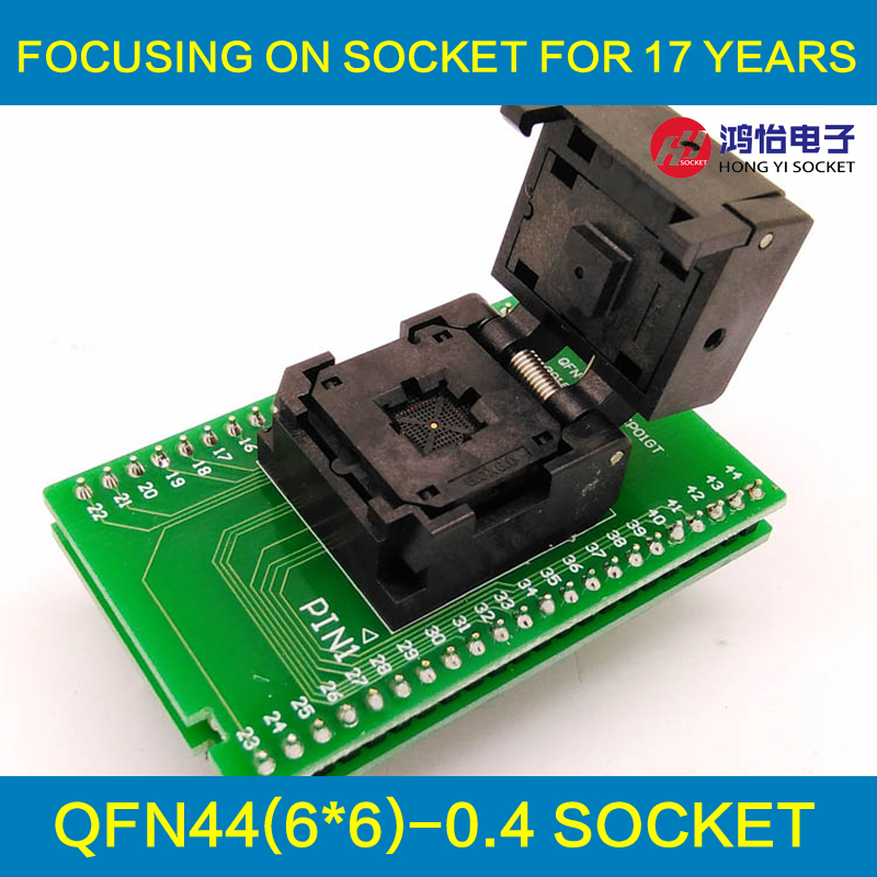 QFN44 MLF44 WLCSP44 to DIP44 Double-Board Programming Socket IC549-0444-015-G Pitch 0.4mm IC Size 6X6mm Test Socket Adapter 2pcs to263 to252 to dip adapter board for diy