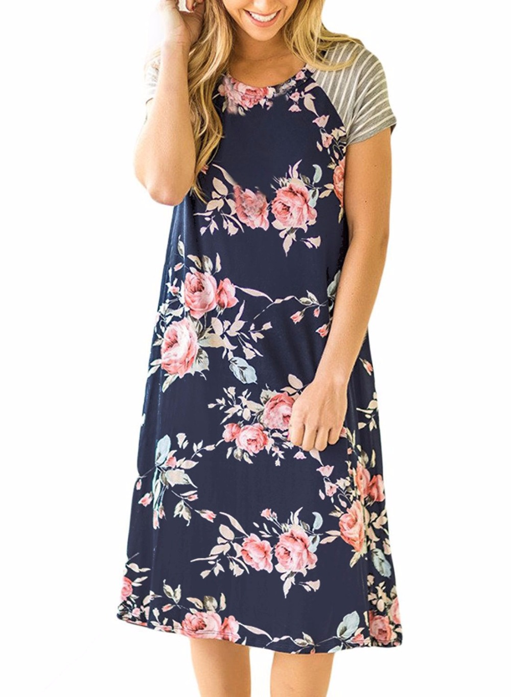 Women Short Striped Sleeve Floral Print Swing Shift Casual Tunic T