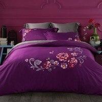 100%Cotton Embroidery Flowers/Dandelion Bedding Set Duvet Cover Bed sheet Pillowcase Bed Linen Bedclothes King Queen size 4pcs