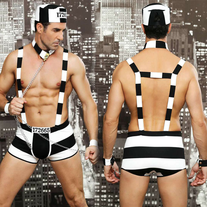 New Porn Men Lingerie Sexy Hot Erotic Catsuit Prisoner Cosplay Sexy Striped Costumes Erotic Body Sex Game Body Suit image